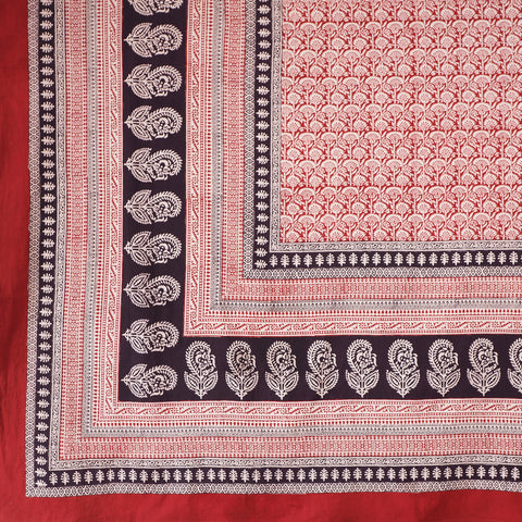 Organic Cotton Sheet - Bagh Print - Red Rustic Palm