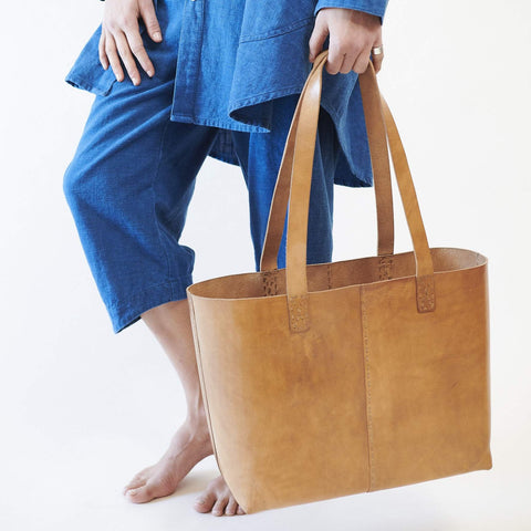 Leather Everyday Carrier Bag - Tan