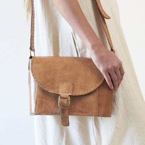 Leather Shoulder Bag - Tan