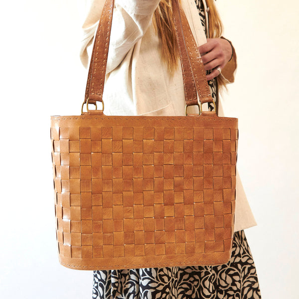 Leather Woven Medium Tote - Tan