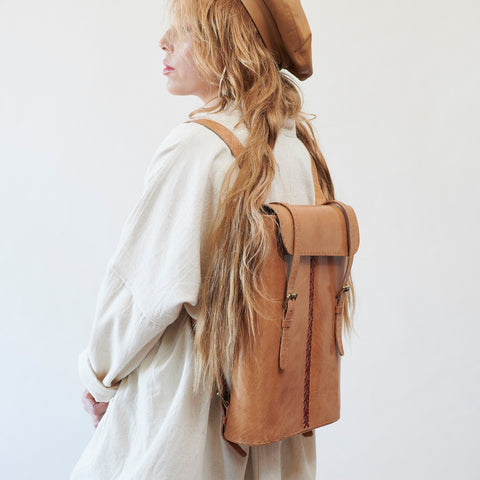 Leather Backpack - Tan with Red Stitches