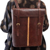 Leather Backpack - Brown with Tan Stitches