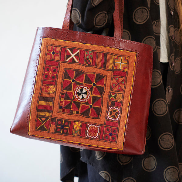 Banjara Embroidery - Red Leather Journey Bag - Pattern 1