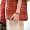 Leather Woven Long Carry Bag - Red