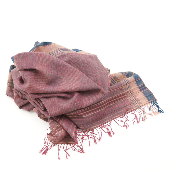 Bhujodi Naturally Dyed Shawl - Evening Sky - Eri Silk & Khadi Cotton