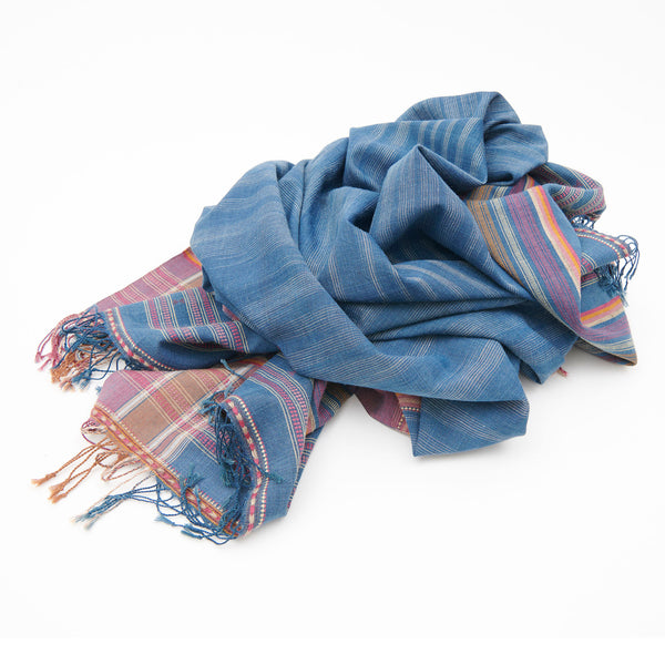 Bhujodi Naturally Dyed Shawl - Rann of Kachchh Indigo - Eri Silk & Khadi Cotton