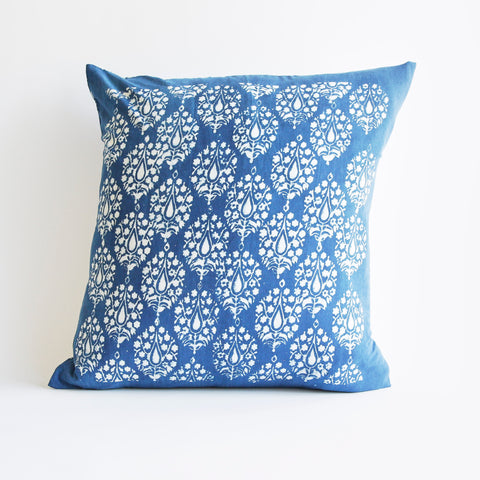 Organic Cotton Cushion Cover - Dabu Indigo Peacock