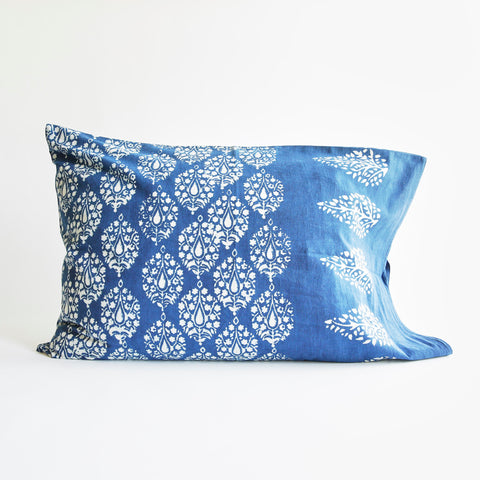 Organic Cotton Pillow Case - Dabu Indigo Peacock