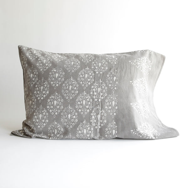 Organic Cotton Pillow Case - Dabu Grey Peacock
