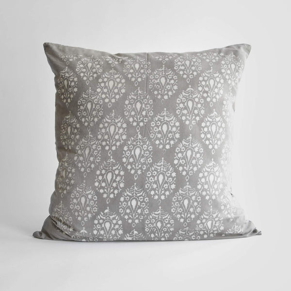 Organic Cotton Cushion Cover - Grey Peacock