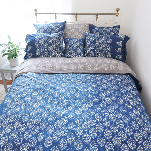 Organic Cotton Duvet  Cover - Dabu Indigo Peacock