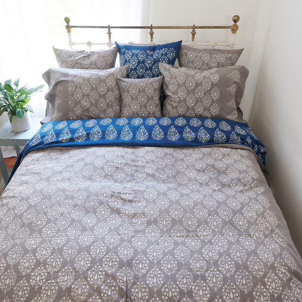 Organic Cotton Duvet  Cover - Dabu Grey Peacock