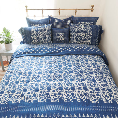 Organic Cotton Duvet  Cover - Dabu Indigo Sunflower