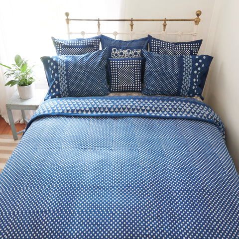 Organic Cotton Duvet  Cover - Dabu Indigo Moon