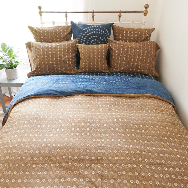 Organic Cotton Duvet  Cover - Earth Gold Bandhani
