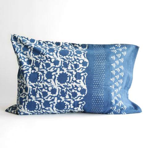 Organic Cotton Pillow Case - Dabu Indigo Sunflower