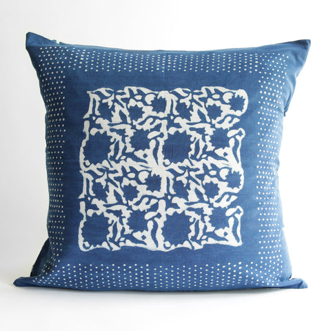 Organic Cotton Cushion Cover - Dabu Indigo Sunflower