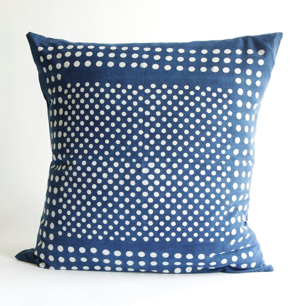 Organic Cotton Cushion Cover - Dabu Indigo Moon