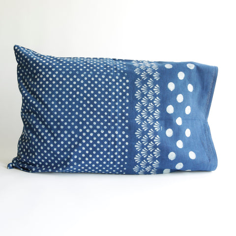 Organic Cotton Pillow Case - Dabu Indigo Moon
