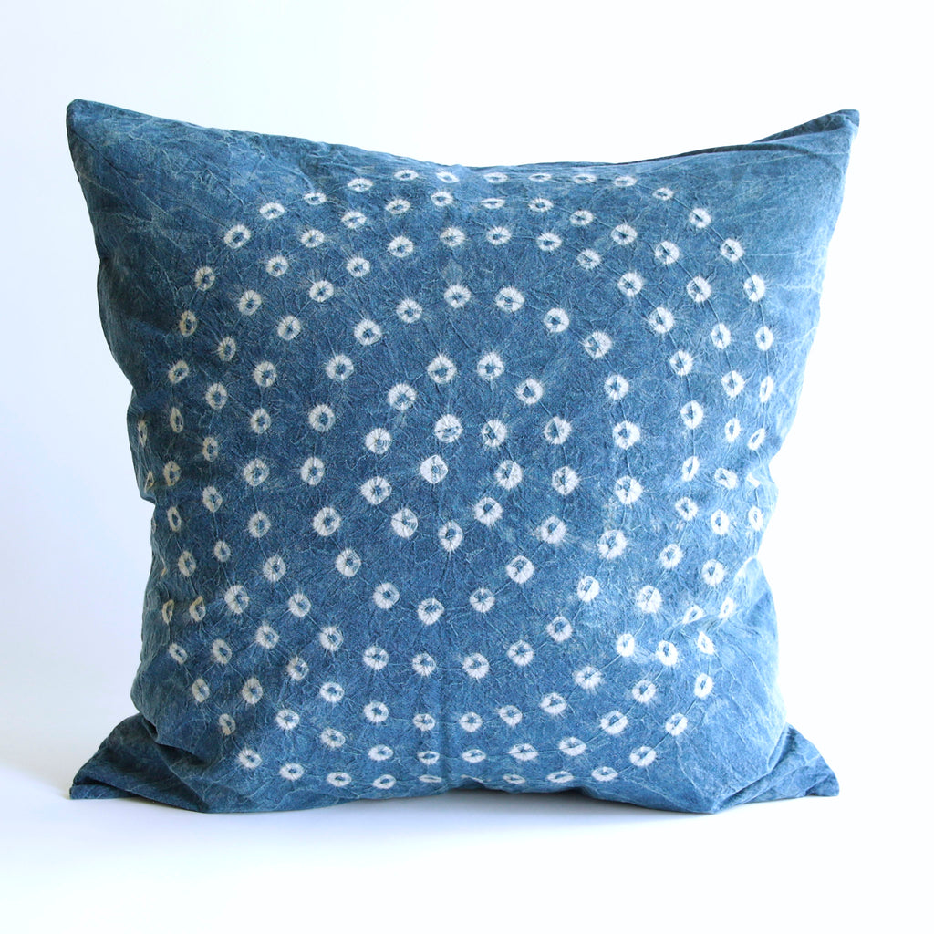 Organic Cotton Cushion Cover - Indigo Bandhani
