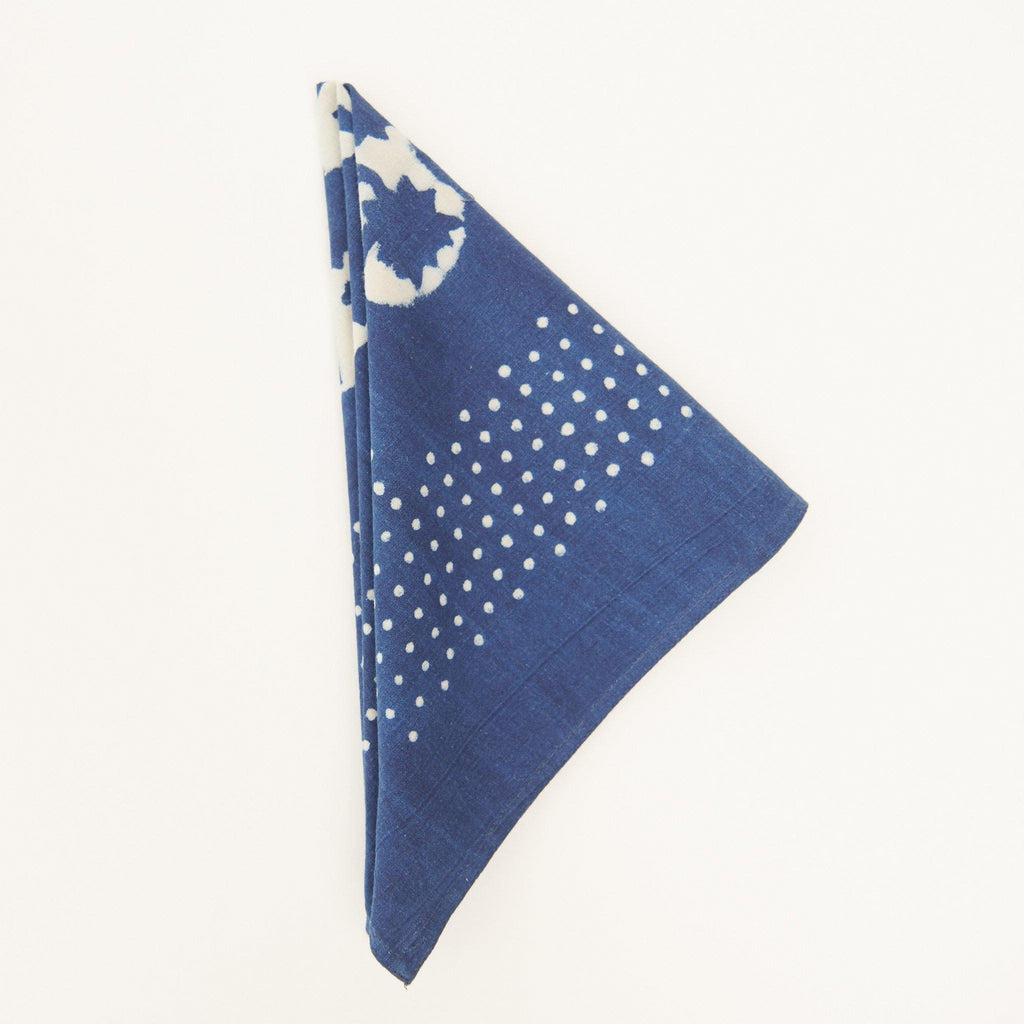 Organic Cotton Napkin - Dabu Indigo Sunflower