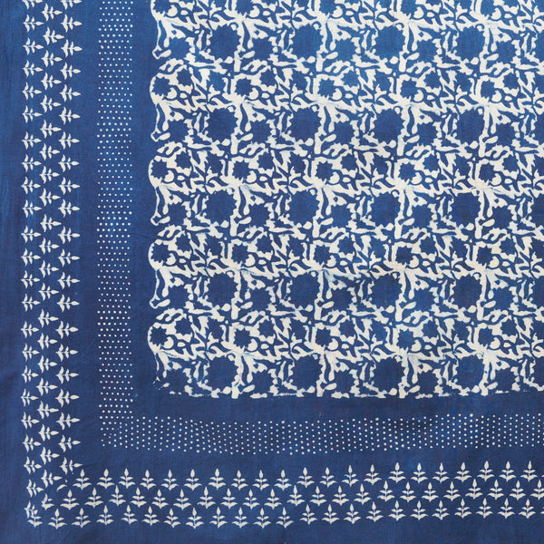 Organic Cotton Sheet - Dabu Indigo Sunflower