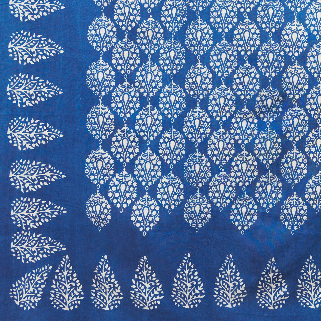 Organic Cotton Sheet - Dabu Indigo Peacock