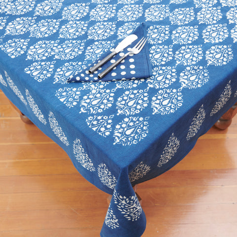 Organic Cotton Tablecloth - Dabu Indigo Peacock