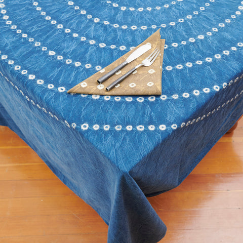 Organic Cotton Tablecloth - Indigo Bandhani