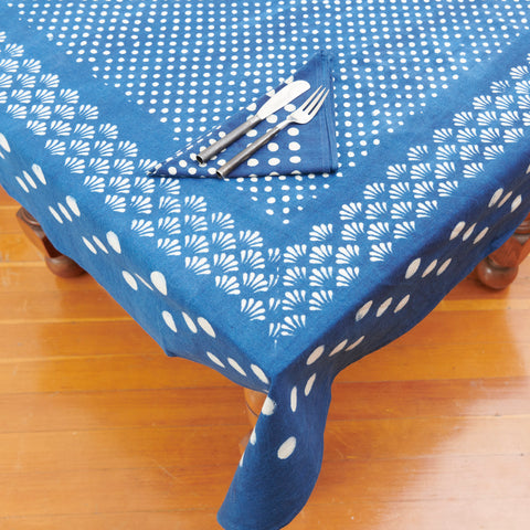 Organic Cotton Tablecloth - Dabu Indigo Moon