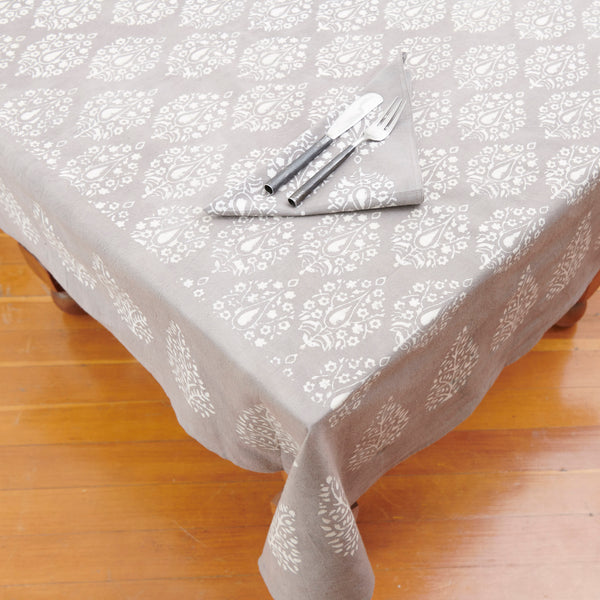 Organic Cotton Tablecloth - Dabu Grey Peacock