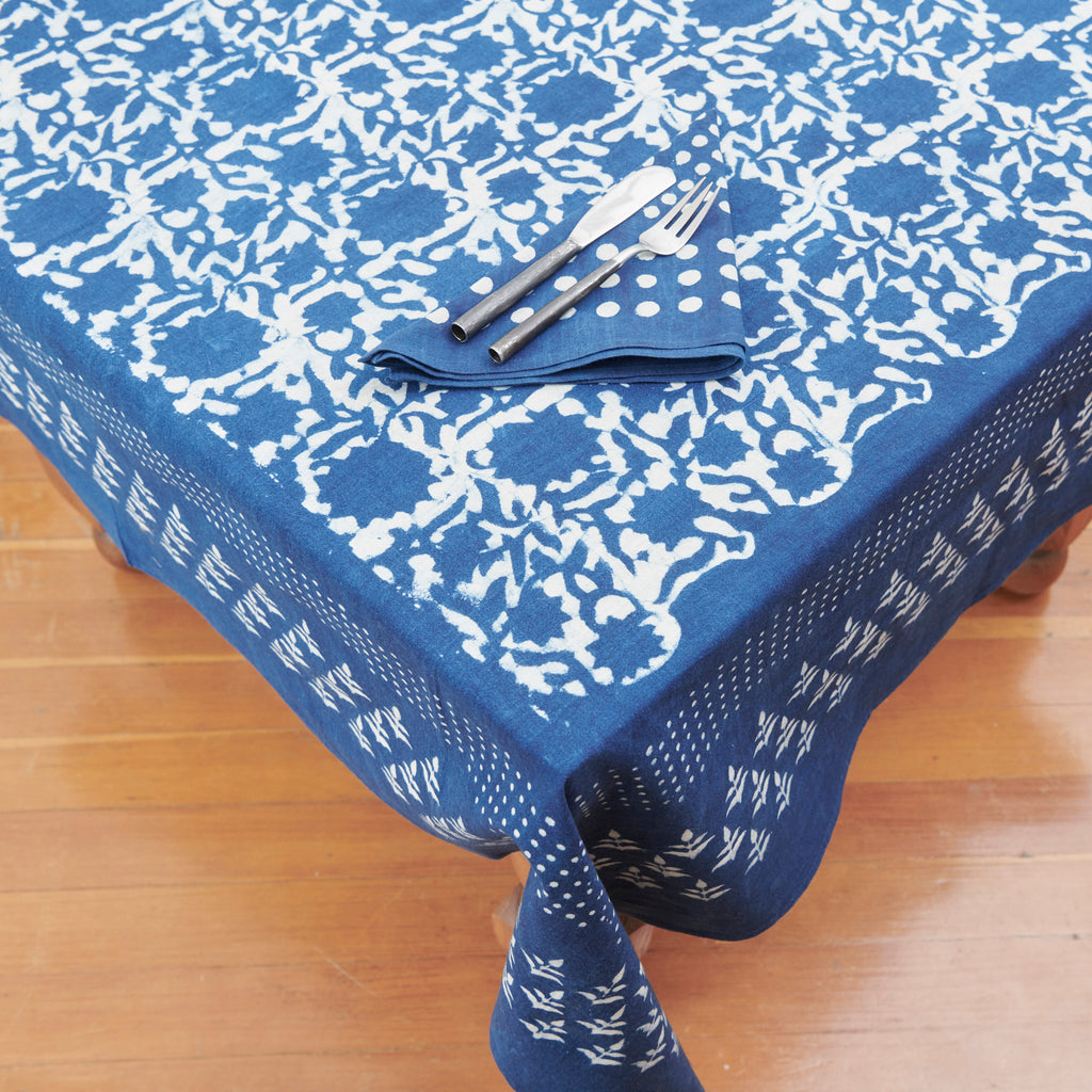 Organic Cotton Tablecloth - Dabu Indigo Sunflower