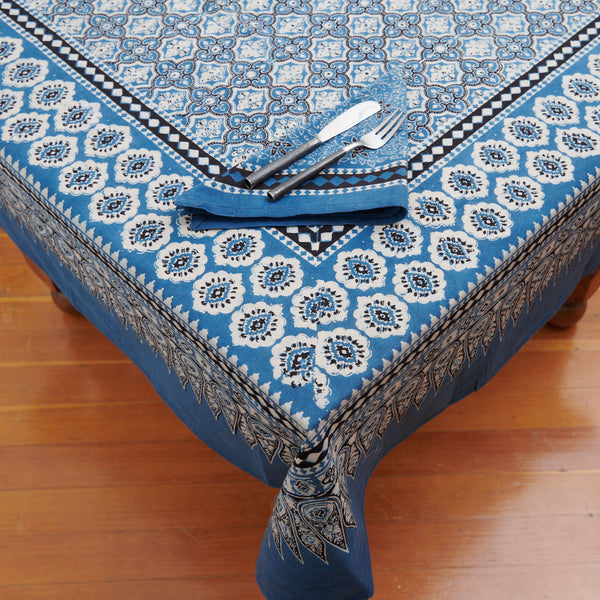 Organic Cotton Tablecloth - Ajrakh Indigo Arabesque