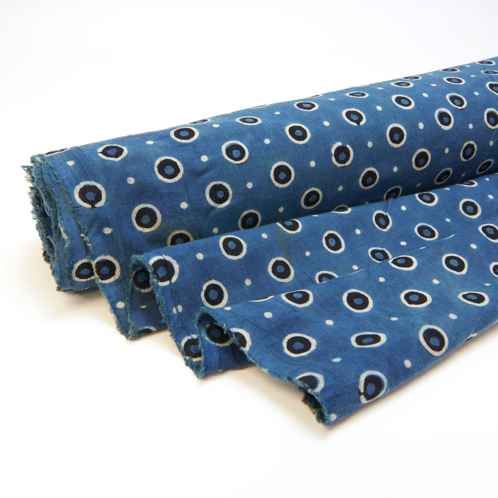 Fabric - Organic Cotton Block Printed with Natural Dyes - Indigo, Double Dot