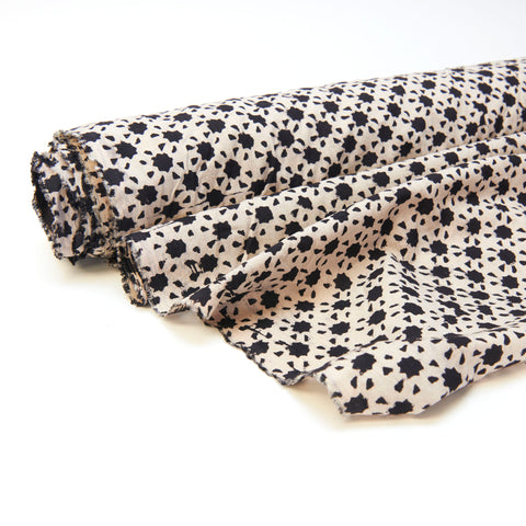 Fabric - Organic Cotton Block Printed with Natural Dyes - Black & White, Star Map
