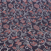 Fabric - Organic Cotton Block Printed with Natural Dyes - Grey & Red, Floral Vine