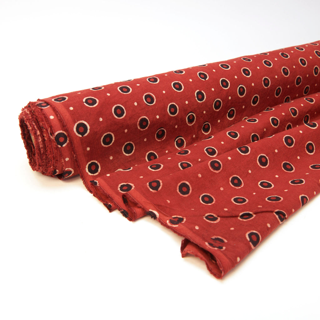 Fabric - Organic Cotton Block Printed with Natural Dyes - Red, Double Dot