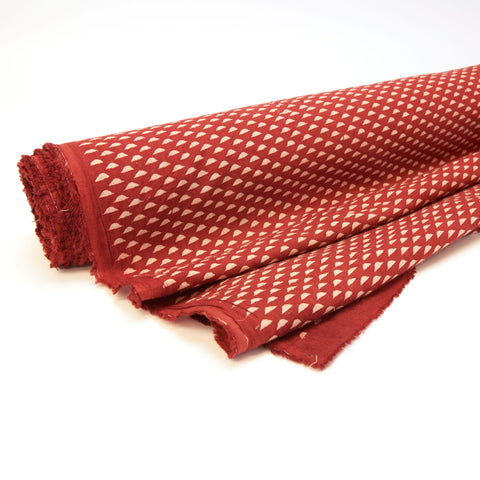 Fabric - Organic Cotton Block Printed with Natural Dyes - Red, Floating Triangles