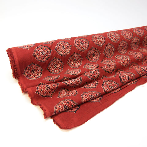 Fabric - Organic Cotton Block Printed with Natural Dyes - Red & Black, Medallion