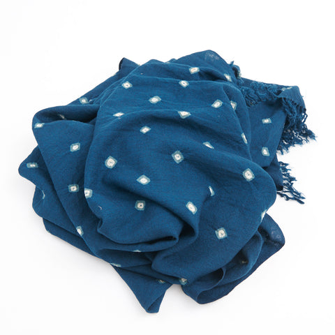 Wool Bandhani Shawl - Blue
