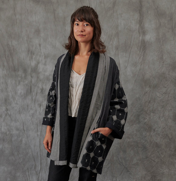 Ikat Kimono Coat - Black Matrix - Cotton