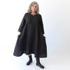 Santara Dress - Black Subtle Circles - Linen