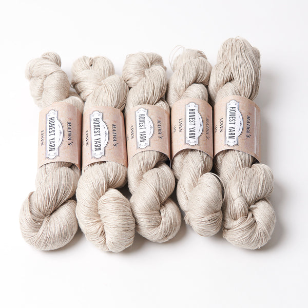 Maiwa Linen Honest Yarn Lace weight, natural undyed