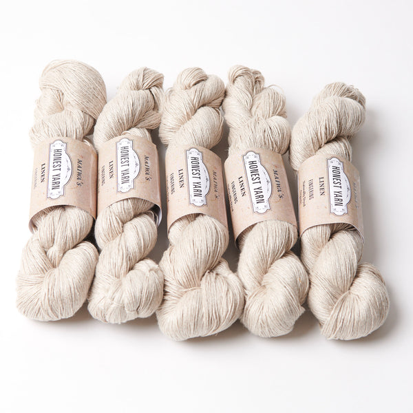 Honest Yarn Blank - Linen Fingering / Natural  - 5 pack