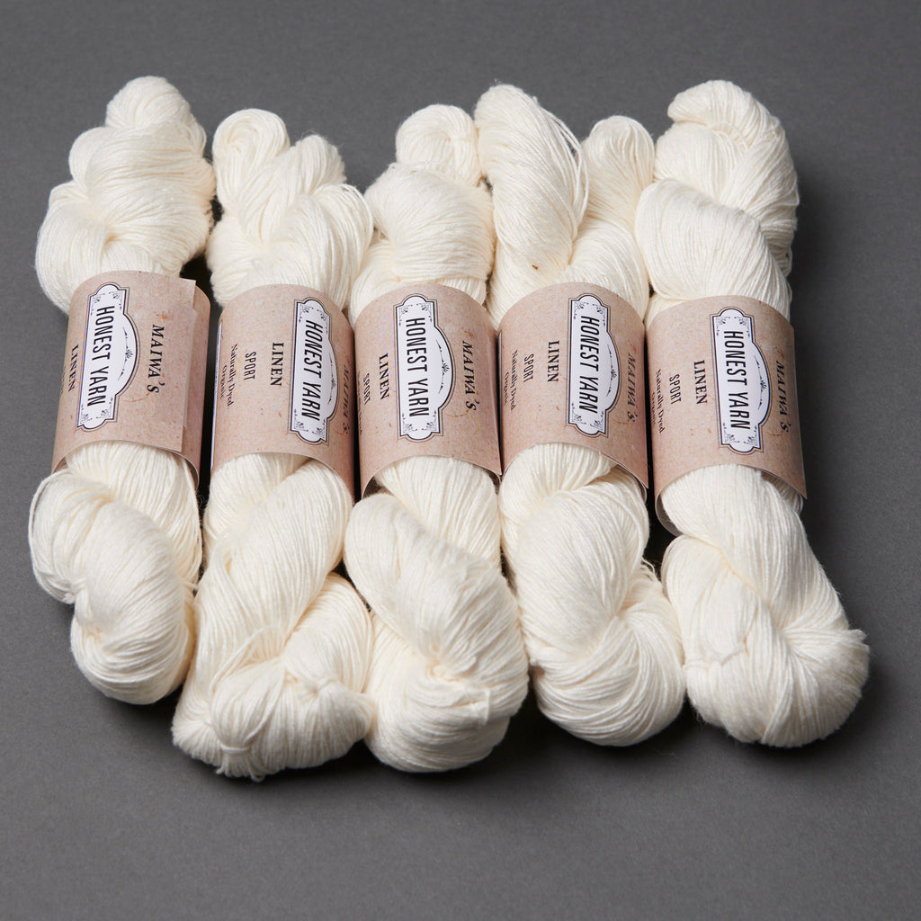 Maiwa Linen Honest Yarn Sport weight, white undyed