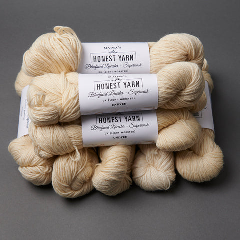 Honest Yarn Blank - Wool BFL Superwash DK / Natural - 10 pack