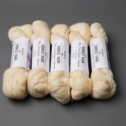 Honest Yarn Blank - Wool BFL Superwash Fingering / Natural - 5 pack