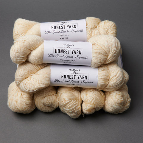 Honest Yarn Blank - Wool BFL Superwash Fingering / Natural - 10 pack