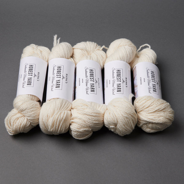 Honest Yarn Blank - Wool Merino Aran / White - 5 pack