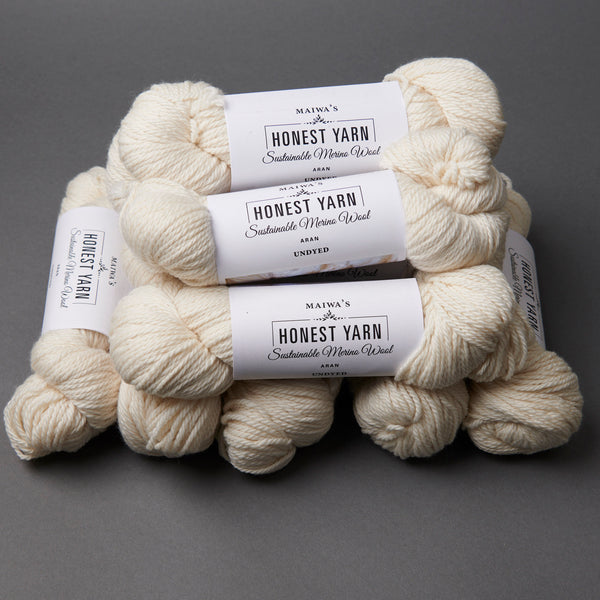Honest Yarn Blank - Wool Merino Aran / White - 10 pack